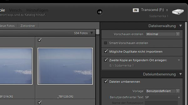 Importdialogfenster in Lightroom