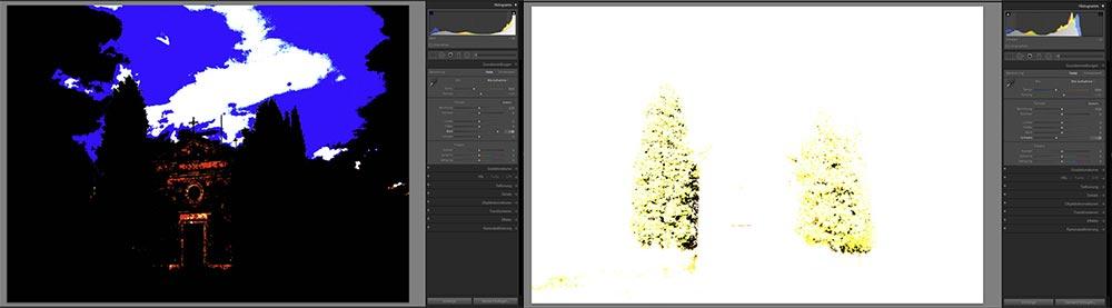 Bild 3+4: Bei gedrückter Alt-Taste wird ein schwarzes bzw. weißes Overlay für den Weiß- und den Schwarzpunkt angezeigt.