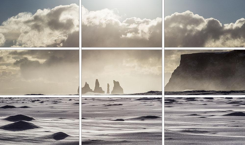 Die Bildaufteilung dieser Aufnahme erfolgte nach der Drittelregel. Die Horizontlinie befindet sich auf der unteren horizontalen Drittellinie. Die Höhe der Felsen (rechts) befindet sich auf der oberen horizontalen Drittellinie. Die Nadelfelsen befinden sich (ungefähr) auf dem Kreuzpunkt der unteren und der linken Drittellinie.