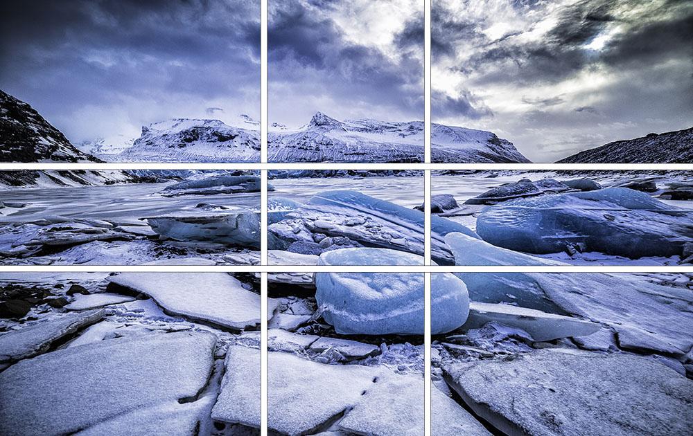 Die massiven Eisbrocken wurden als Vordergrundinteresse in das Bild aufgenommen, um dem Bild auch zusätzlich Tiefe zu geben. Sie wurden nach der Regel des Goldenen Schnitts nicht in der Mitte des Bildes platziert, sondern eher auf einem der Kreuzpunkte. Die Horizontlinie befindet sich auf der oberen Teilungslinie.
